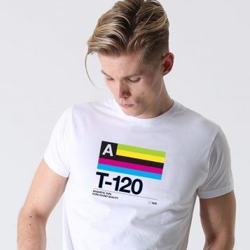 T-lab T-120 mens white t-shirt model square