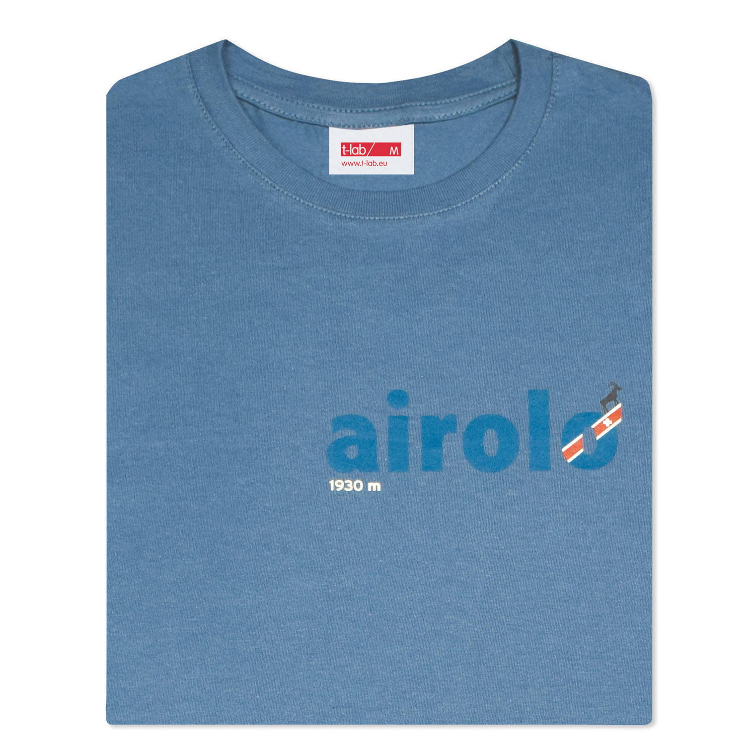 T-lab Airolo mens t-shirt blue folded
