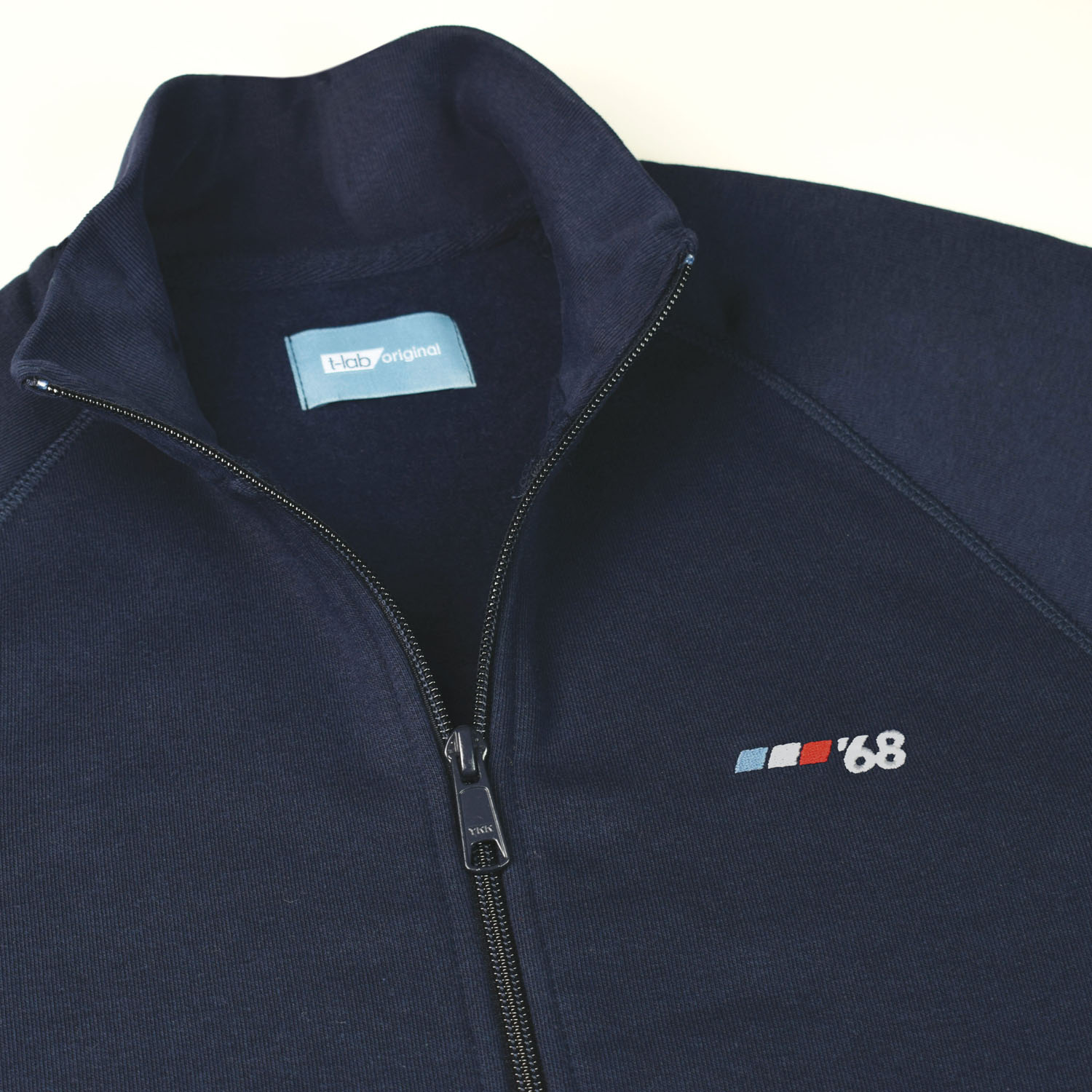 T-lab Grenoble '68 mens zipped sweat navy detail2