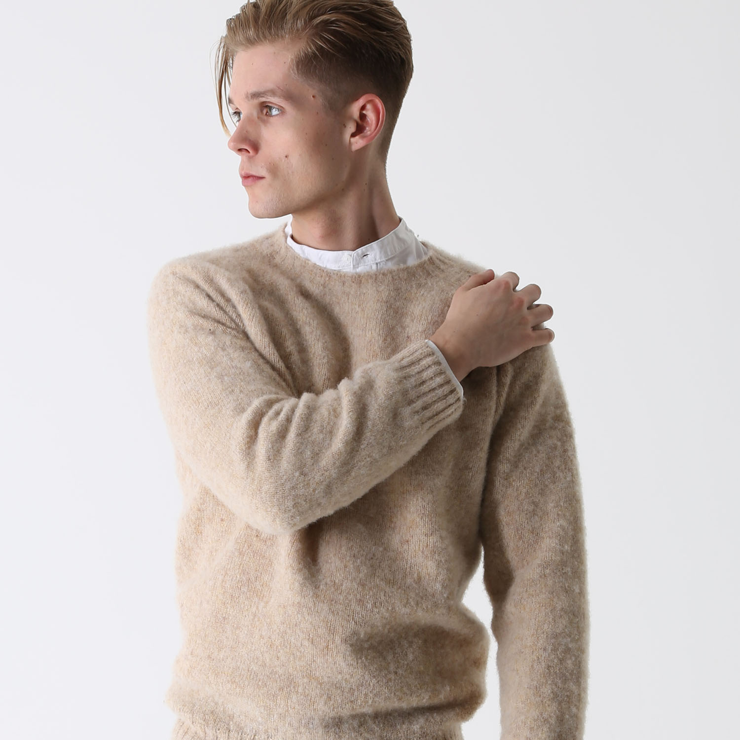 T-lab Coll mens knitwear brushed sand model