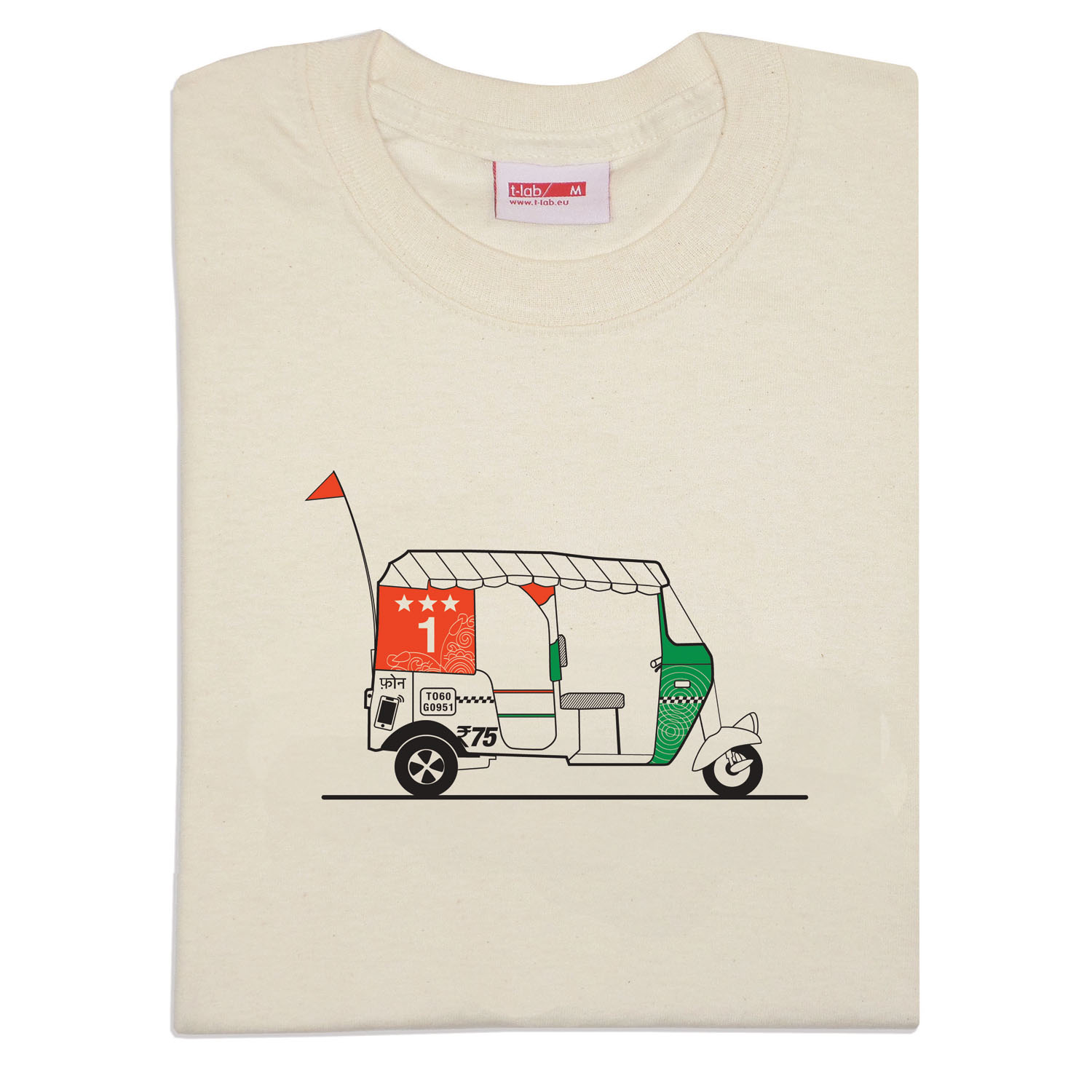 T-lab Tuk Tuk mens natural white t-shirt