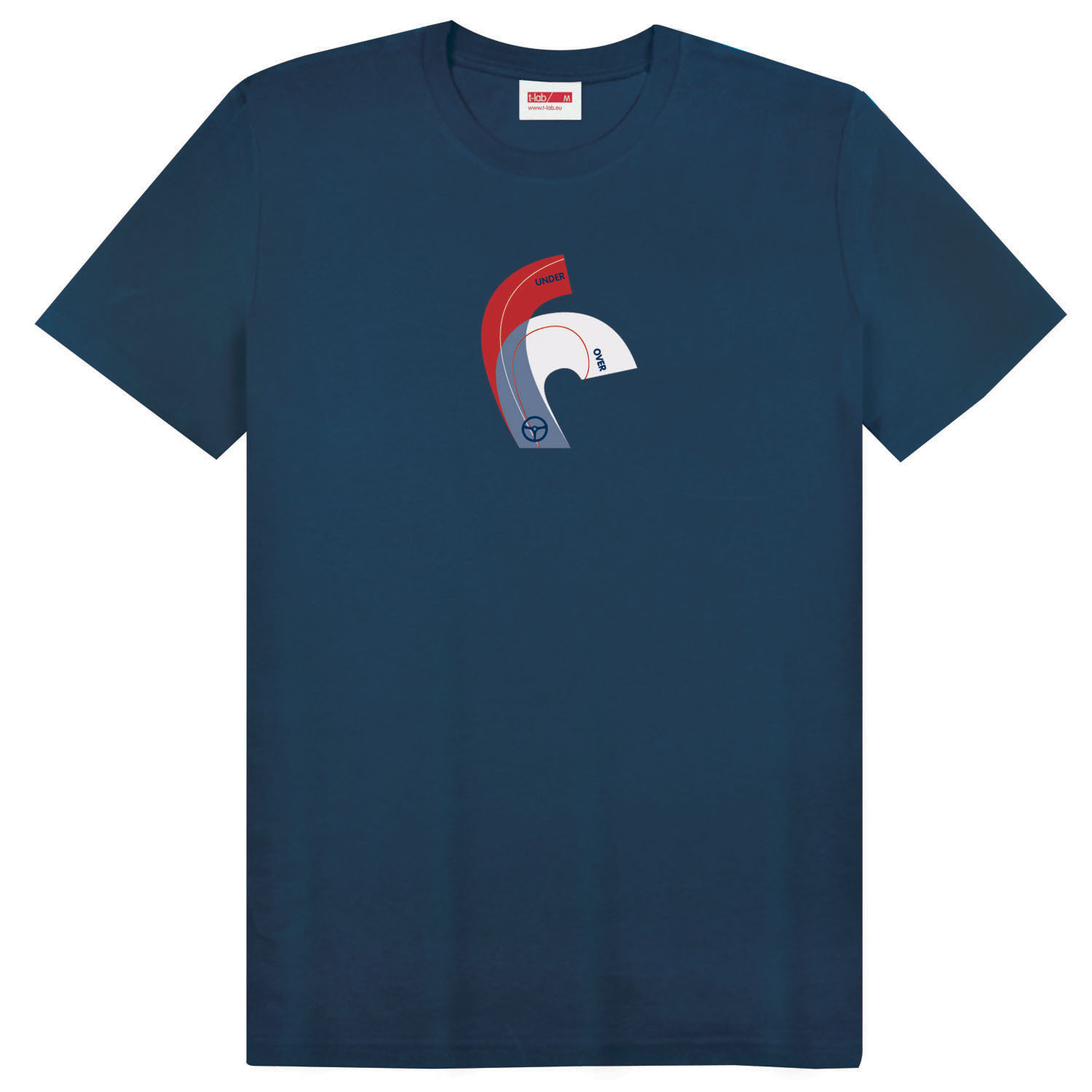 T-lab-Over-Out-mens-organic-t-shirt-navy