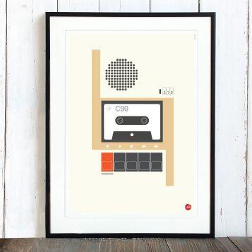 T-lab-C90-cassette-A3-poster-framed