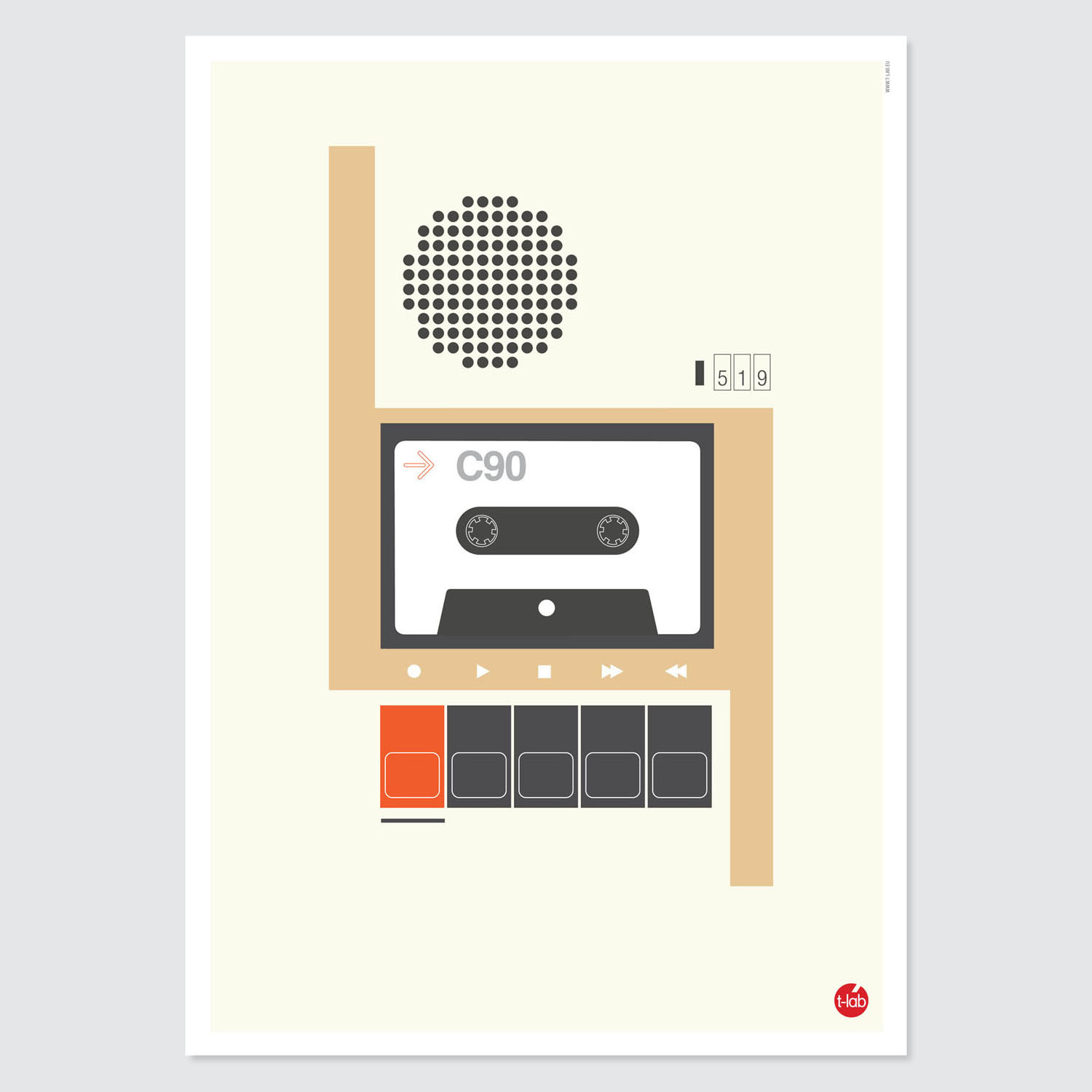 T-lab-C90-cassette-A3-poster-unframed